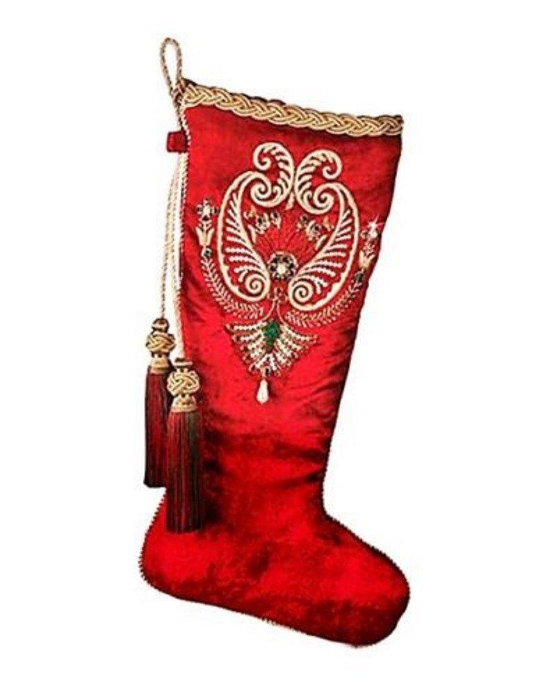 JAY STRONGWATER CHRISTMAS PEARL PAISLEY VELVET STOCKING BRAND NEW