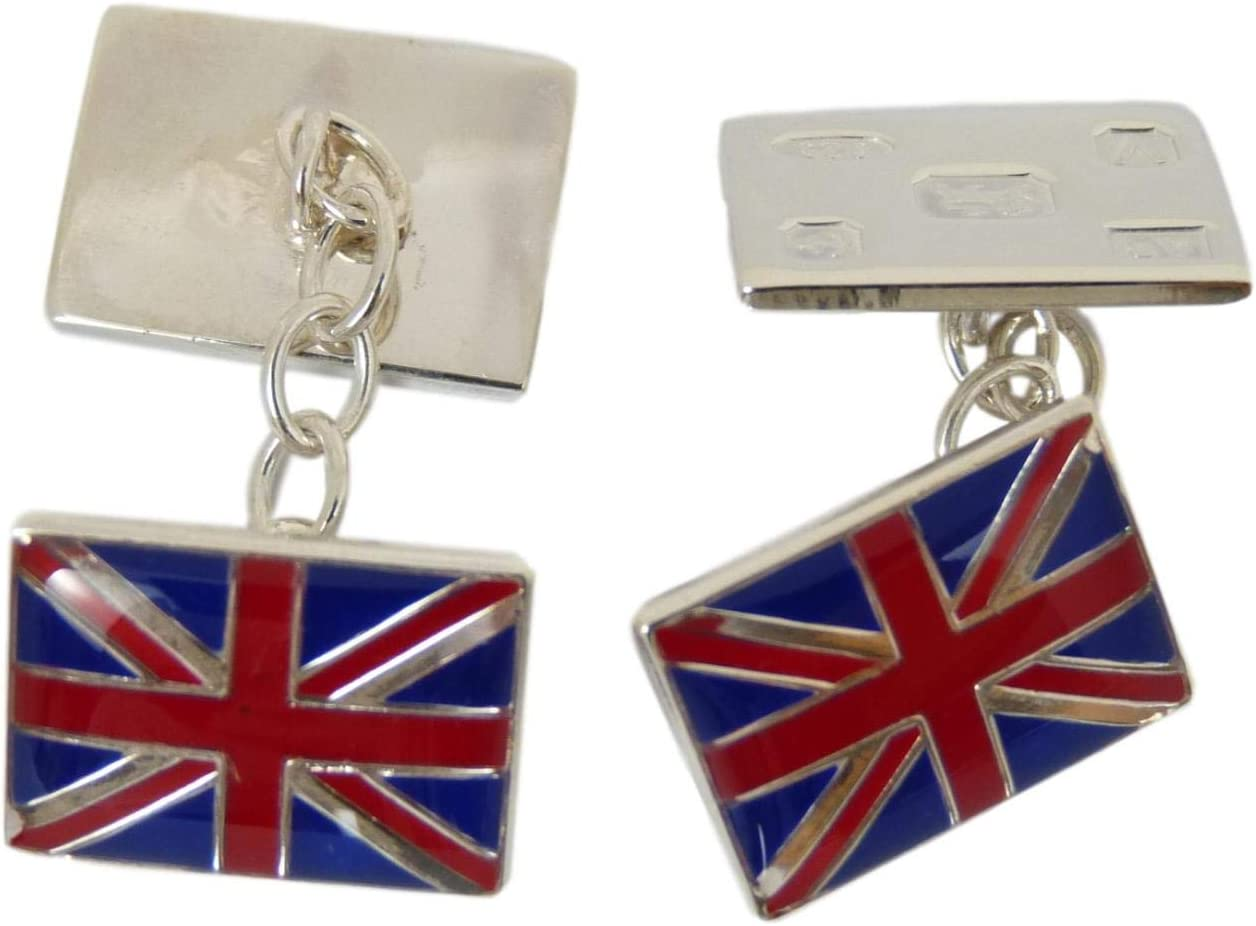 Merritt Robinson CATORS Sterling Silver Cufflinks Enamel Union Jack//Flag w Large Hallmarks