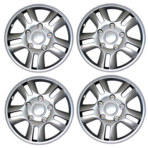 TuningPros WSC3-006S15 4pcs Set Snap-On Type (Pop-On) 15-Inches Metallic Silver Hubcaps Wheel Cover