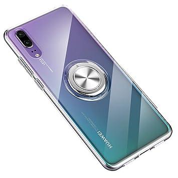 SORAKA Funda Transparente para Huawei P20 Pro,con 360 Soporte de Anillo Giratorio Slim Fit Funda Transparente de TPU Suave Compatible con Soporte ...