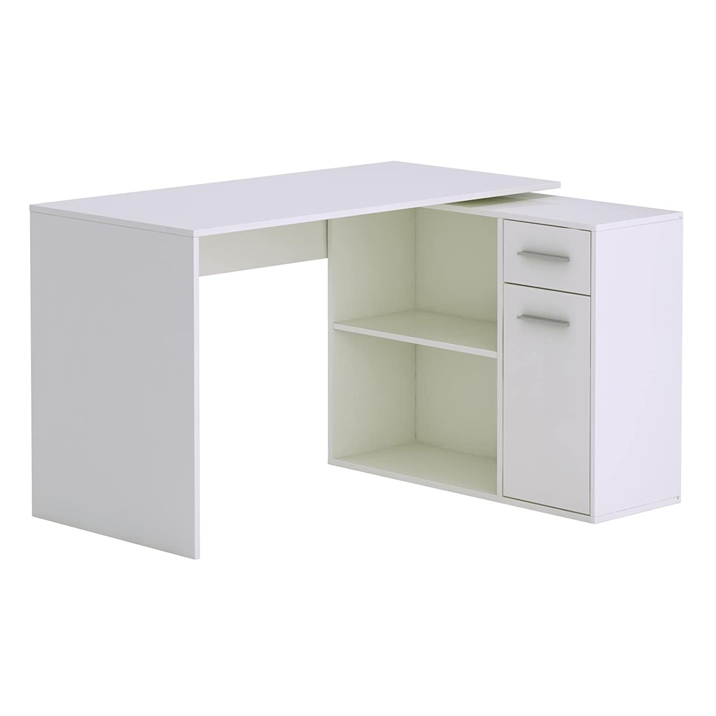 CARO Möbel Schreibtisch Eckschreibtisch Computertisch Diego, In Sonoma  Eiche/weiß, Mit Regal, ...
