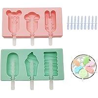 Moldes de silicona para paletas con tapas y palos de plástico reutilizables, para hacer helados/helados para niños (2…