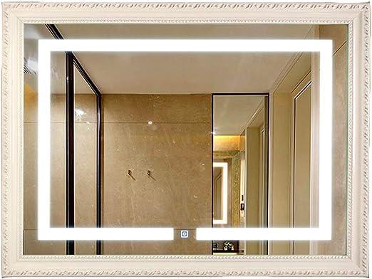70 × 90 cm Borde Europeo baño Espejo Lavabo Cuarto de baño Blanco luz LED Espejo: Amazon.es: Hogar