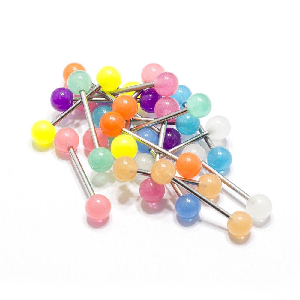 20 Tongue Rings Glow in the dark Bar Barbell Nipple Surgical Steel Body Jewelry BodyJewelryOnline 20-STEEL-BARBELL-UVBALL