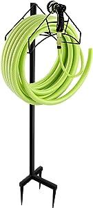 MIXXIDEA Freestanding Garden Hose Holder Hanger, Heavy Duty Metal Water Hose Storage Stand Rack for Yard Lawn Black