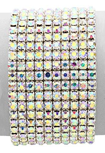 "Christina Collection 10 Row Wide Iridescent Aurora Borealis Rhinestone Stretch Bangle Bracelet, Silver-Tone, 1 1/2"" by Christina Collection"