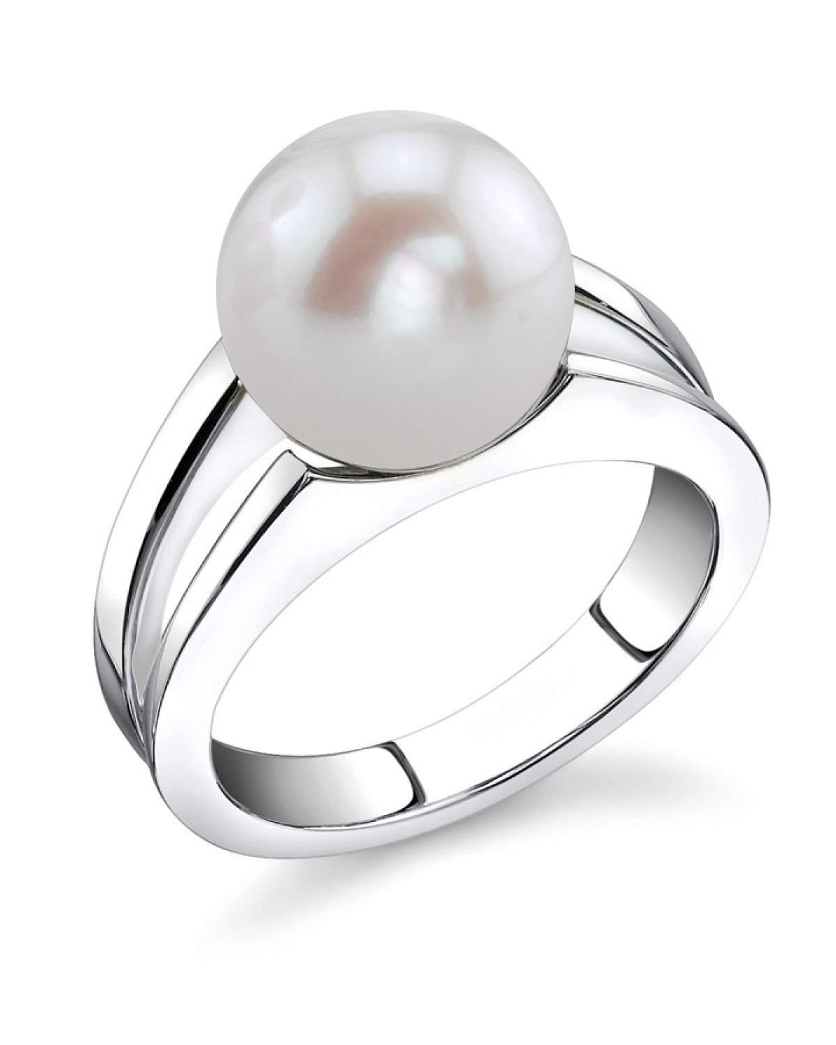 THE PEARL SOURCE 10-11mm Genuine White Freshwater Cultured Pearl Kasandra Ring for Women by The Pearl Source