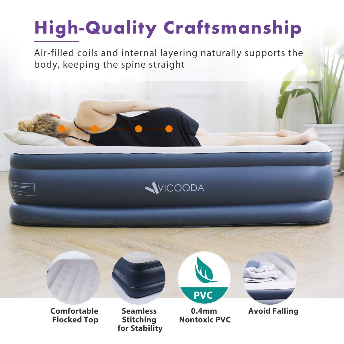 462a6cce701 VICOODA Air Mattress Twin Size Blow Up Raised Guest Durable Firm Bed  Inflatable Airbed with Built larger image