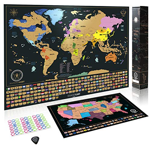 Scratch Off World Map + Premium Scratch Off USA Map - Deluxe Tube ...