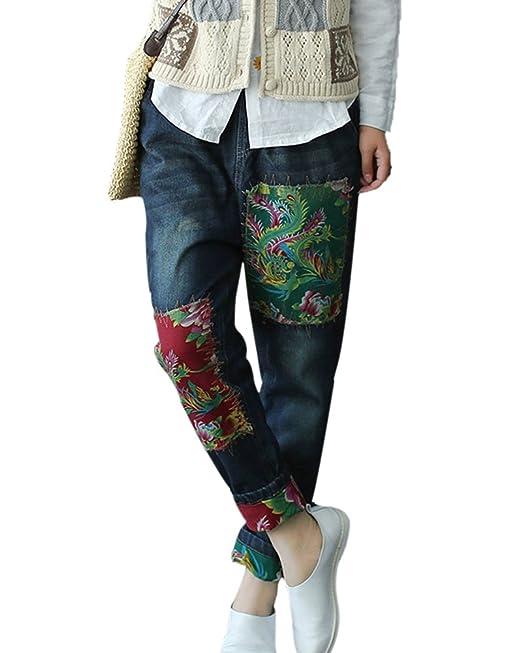 SaiDeng Mujer Retro Baggy Bordado Parche Cintura Elástica Oversize Pantalones Vaqueros