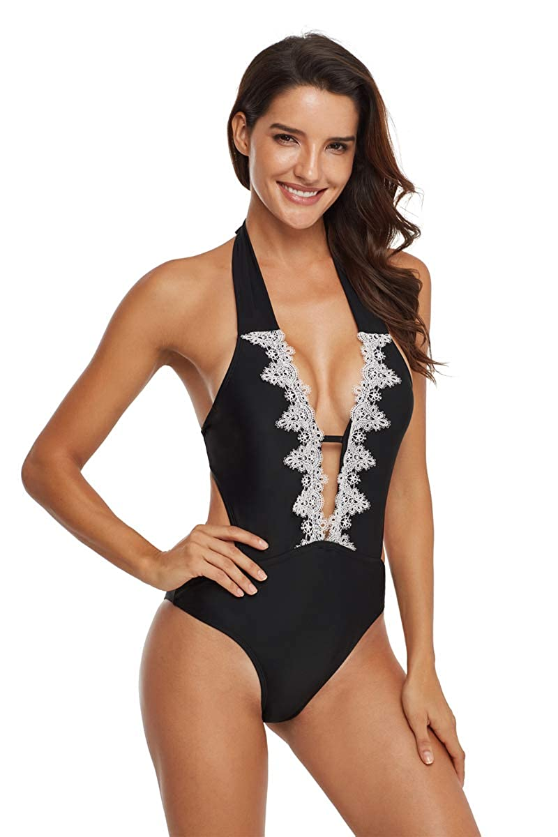 5aa9c28ee8d Womens Sexy Monokini Vintage Lace Bathing Suit Halter One Piece ...