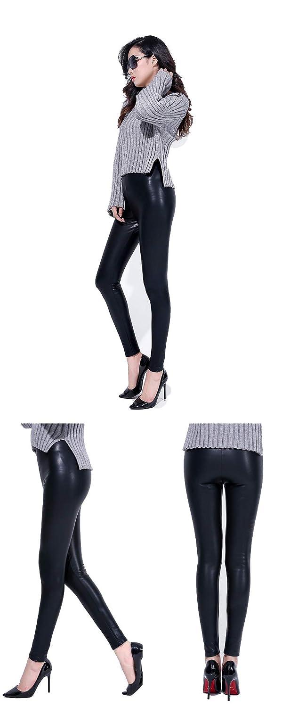 4551a2ad2 LEBOLONG - Leggings elásticos de Piel sintética para Mujer, Sexy ...