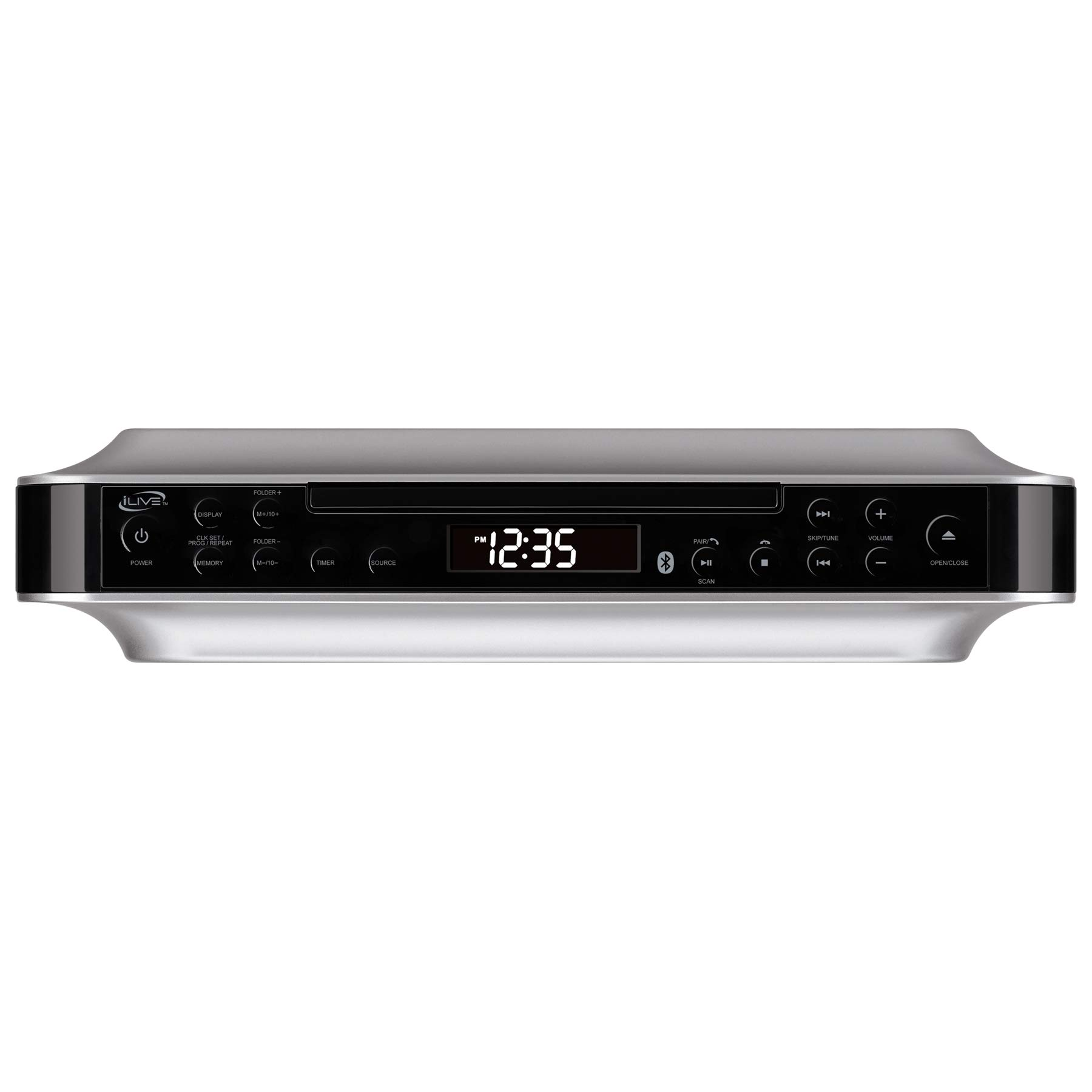 iLive Bluetooth Under The Cabinet Radio CD Player, Bluetooth, USB, AUX in, MP3 CD Wireless Music System with Kitchen Timer, Digital Clock and Hands Free Speakerphone with Remote Control iKBC384SMP3U