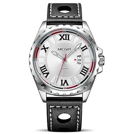 Megir Hombres Reloj Deportivo Negro PU Banda de Cuarzo Relojes Hombres Reloj de Pulsera Relojes Militares