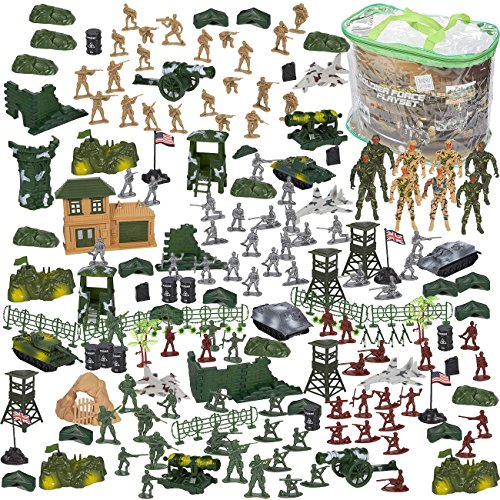 Blue Panda 300 Piece Army Action Figure Set, Military Toy Soldier Playset Tanks, Planes, Flags, Battlefield Tools Party Display, Includes 8 - 3.5 inches Figures Flexible Joints by Blue Panda