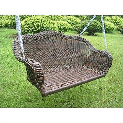 (International Caravan 3183-AP-IC Furniture Piece Resin Wicker Hanging Loveseat)