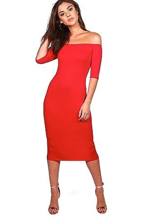 8b92b024836 YourPrimeOutlet Femmes amelia robe midi à épaules dénudées - rouge - 14