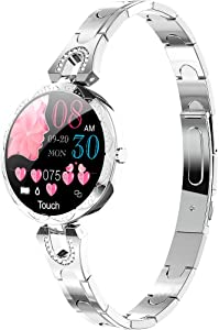 LONGLU Smart Watch for Women, Smartwatch Compatible for IOS Android iPhone Samsung Phones. Fitness Tracker With Heart Rate Blood Pressure Waterproof Bluetooth Pedometer Sleep Activity Tracker (Silver)
