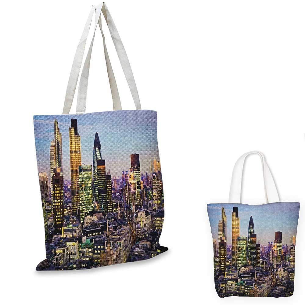 12x15-10 City canvas messenger bag New York Skyline Closeup Brooklyn Bridge in Manhattan over Hudson River canvas beach bag Orange Pale Blue Grey