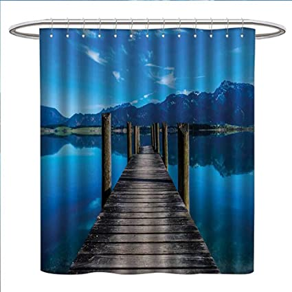 Jinguizi Seascape Shower Curtains With Hooks Wooden Pier Jetty On Lake Serene Mountain And Clear