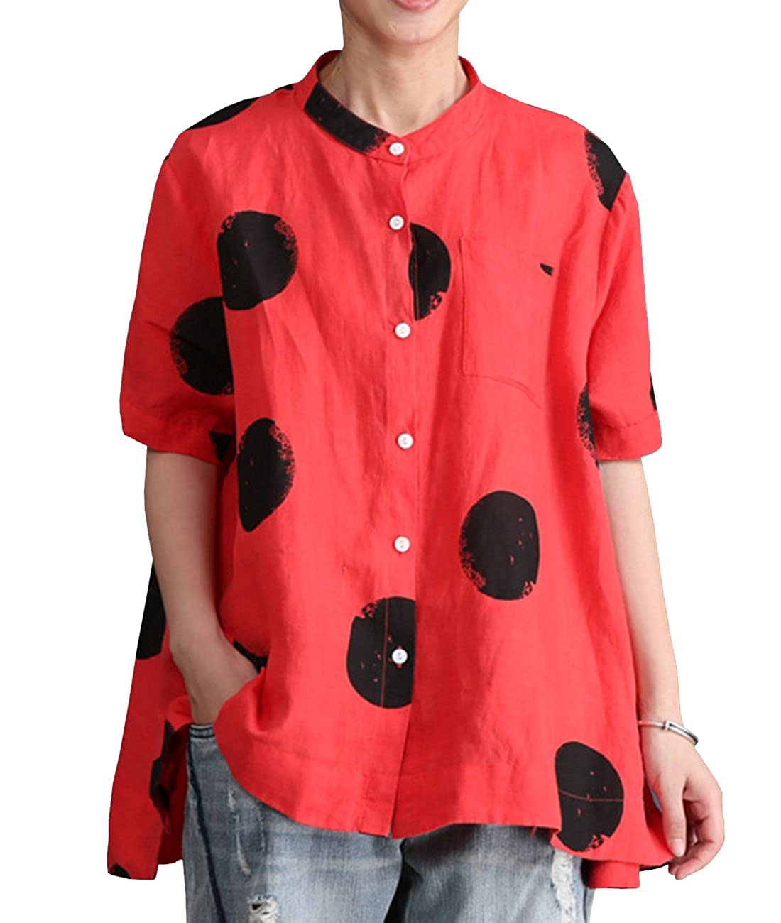 Qr5typ1 Red YESNO E01 Women Casual Loose Fit Embroidered Blouse Shirt Lapel ButtonDown Shirt 100% Linen Raglan Sleeve