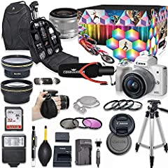 This Canon DSLR Camera Bundle Includes: Canon EOS M50 Mirrorless Digital Camera (White)Canon EF-M 15-45mm f/3.5-6.3 IS STM Lens SanDisk 32GB Ultra Class Memory CardLP-E12 Battery PackLC-E12 ChargerAC/DC ChargerBlowerLens Cleaning PenSlave Fl...