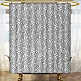 Custom Made Shower Curtains Silver Shower Curtains Waterproof Long Floral Ornaments Spring Theme Abstract Paisley Antique Vintage Style Illustration Custom Made Shower Curtain 72