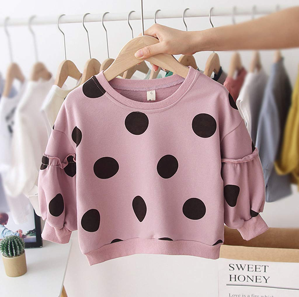 Janly Baby Tops for 0-4 Years Old Baby Girls Sweatshirt Toddler Dot Print Warm Pullover T-shirt Autumn Winter Kids Tee Clothes Outfits