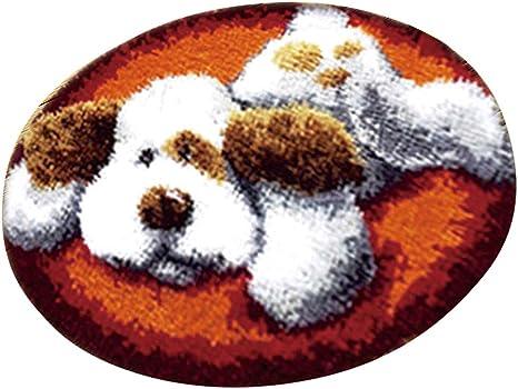 Baoblaze Cats /& Dogs Latch Hook Rug Kits DIY Ladybug /& Bear /& Santa Claus Cushion Carpet Making Kits Dog