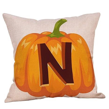 AKAIDE Pillow Case Fall Halloween Throw Cushion Cover Watercolor Pumpkin Pillow Case Waist Sofa Home Decor