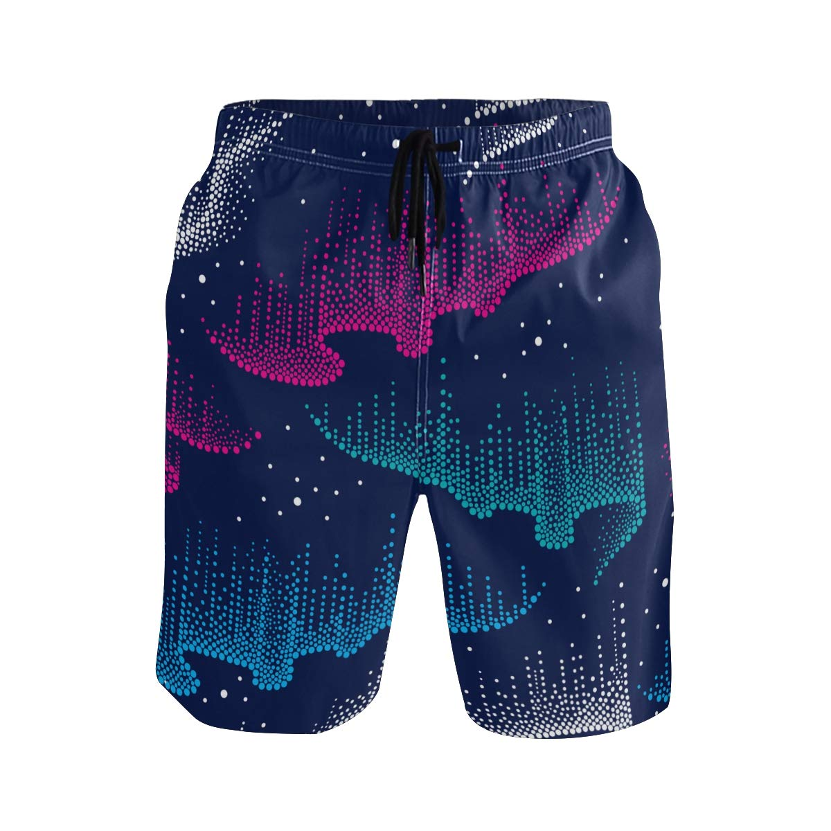 KVMV Dotted Swirls of Color Northern Polar Light in Blue Pi Quick Dry Beach Shorts