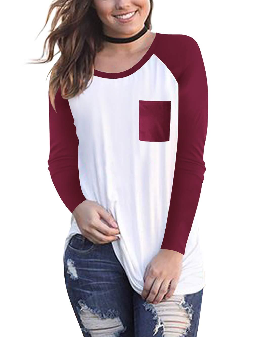 Amoretu Women's Casual Tee Shirts Long Sleeve Raglan Baseball Shirt Pocket Wine Red M