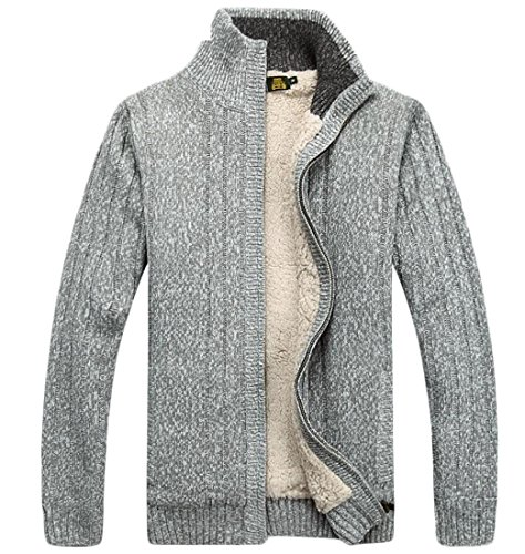 amp;W 1 amp;S Fleece Lined Full Sweater Cardigan Zipper Winter Men's M U5qwH4xvx