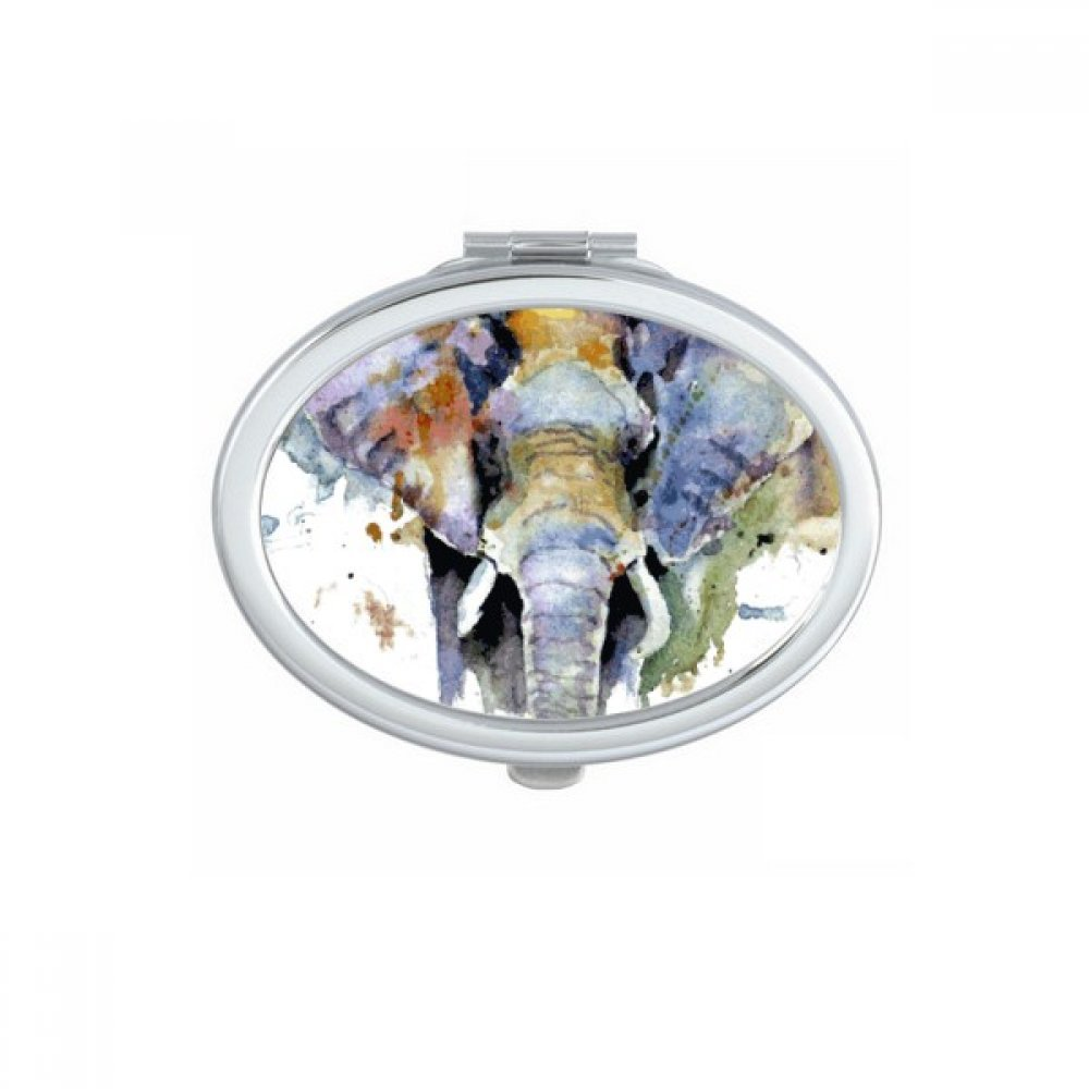 DIYthinker Elephant Painted Personality Animal Oval Compact Makeup Pocket Mirror Portable Cute Small Hand Mirrors Gift