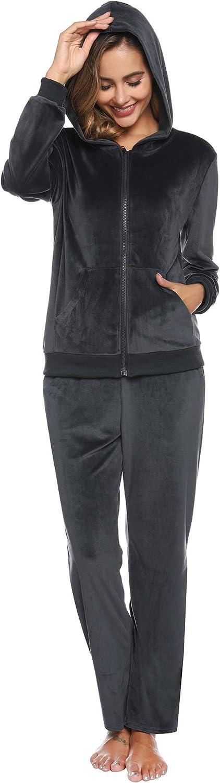 Aibrou Womens Velour Sweatsuit Active Zip Hoodie Tracksuit Set Loungewear