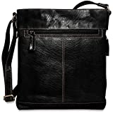 Jack Georges Mens Voyager Crossbody Bag in Black
