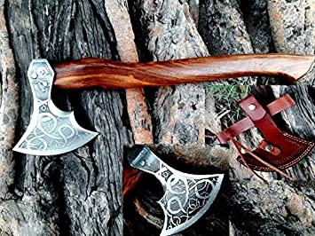 """NEW 18/"""" HIGH CARBON STEEL ROSE WOOD WITH VIKING LOGO BEARDED RAGNAR VIKING AXE"""