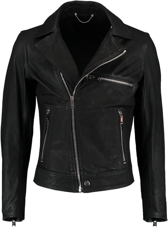 brandMe Mens Genuine Leather Pure Lambskin Biker Jacket MM304