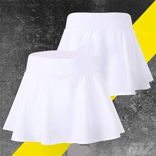 Hoverwin - Falda de Tenis para Mujer, Minifalda, Secado rápido, para Deporte, Fitness, Yoga, Pliegues, con pantalón Interior, Color Blanco, tamaño ...