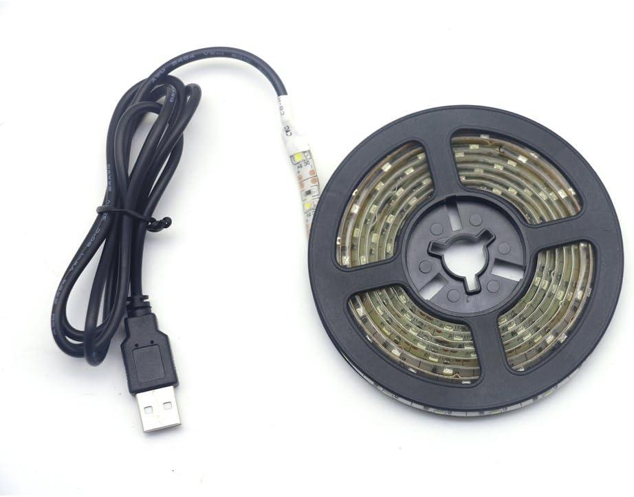 Renohef Tiras LED USB,Impermeable DC 5V Blanco frio 16.4 pies 300leds SMD 3528 Retroiluminación de la pantalla de la PC de escritorio, Luz de fondo de TV, Lámpara de cinta para decoración del hogar