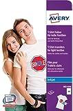 Avery 24 Feuilles de Papiers Transferts T Shirt/Textile Blancs ou Clairs - A4 - Jet d'Encre (MD1006)