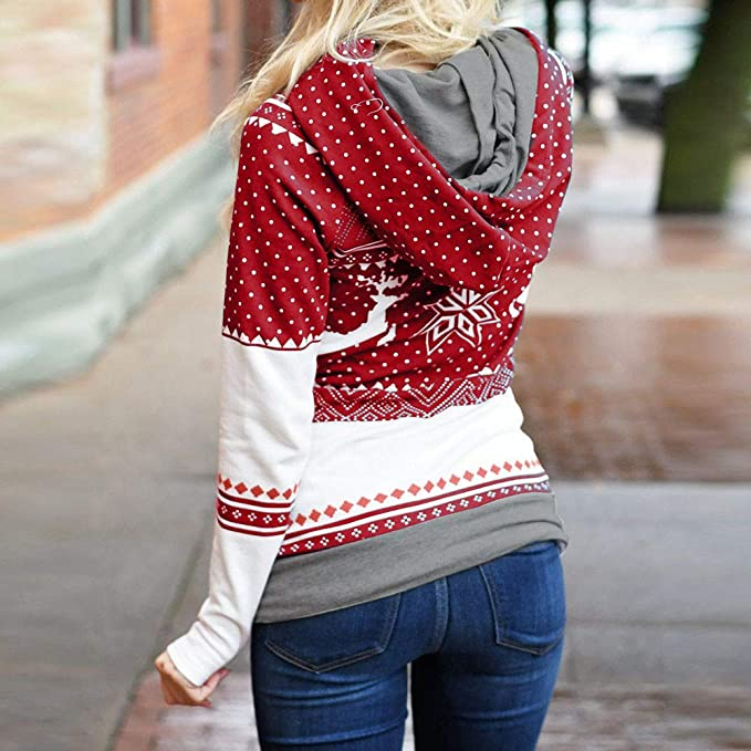 521320abbc09df BETTERUU Christmas Women Zipper Dots Print Tops Hooded Sweatshirt Pullover  Blouse T-Shirt at Amazon Women s Clothing store