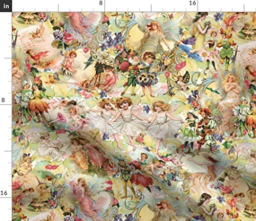Vintage Flower Fairy Fabric - Fairy Flower Fairy Garden Fairy Flowers Leaves Pansies Roses Forest Vintage by Carolyn Grossman Printed on Petal Signature Cotton Fabric by The Yard