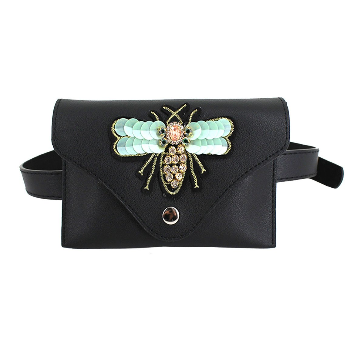 Queena Women Girls Elegant Leather Waist Bag 3D Bee Embroidery Fanny Pack Phone Purse Green