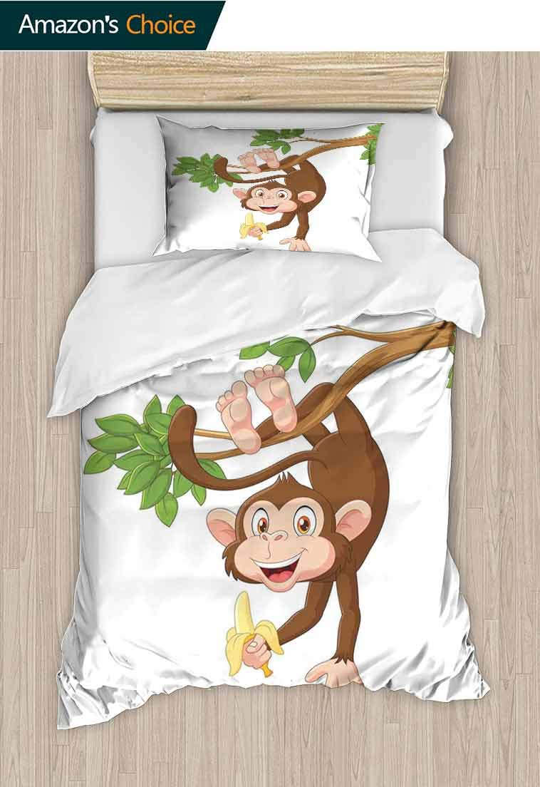 Cartoon Custom Made Quilt Cover and Pillowcase Set, Funny Monkey Hanging from Tree with Banana Jungle Animals Theme Mascot Print, Print, Decorative Quilted 2 Piece Coverlet Set with 1 Pillow Shams, by carmaxshome