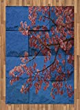 Brick Wall Area Rug by Lunarable, Thai Sakura Blossom Mural Branch with Flowers Spring Floral Eastern Beauty Print, Flat Woven Accent Rug for Living Room Bedroom Dining Room, 5.2 x 7.5 FT, Pink Blue