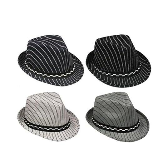 Amazon.com  Fedora Trilby Hats For Kids - Pin Striped - Black Color ... 899b3e975ea7