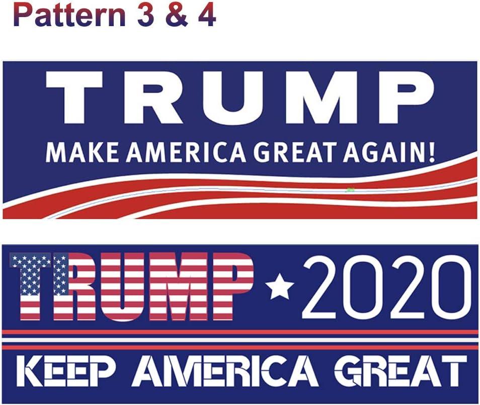 YAOJOE 8 PCS Super Waterproof Trump Car Decal Keep America Great Elect President Donald Trump 2020 Election Patriotic Reflective Bumper Sticker 4 Pattern