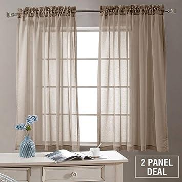 Amazoncom Semi Sheer Curtains Living Room 63 Inch Length Rod