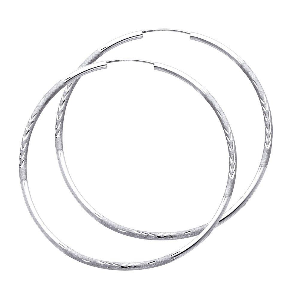 14K Gold 2mm Thickness Diamond Cut Hoop Endless Earrings Ioka